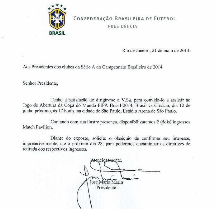 Documento CBF convite abertura da Copa do Mundo