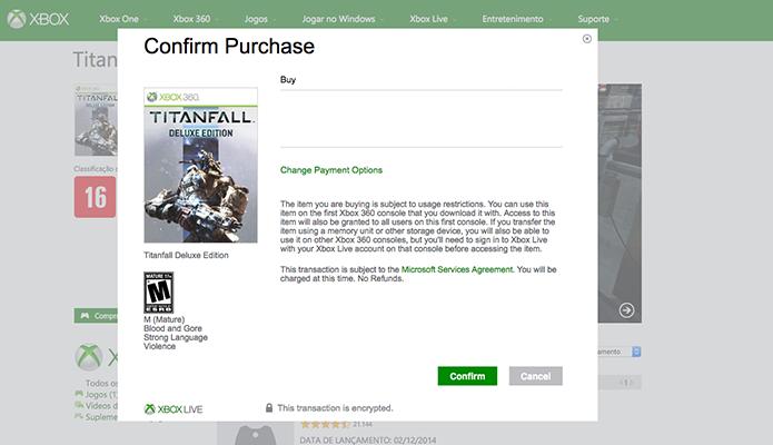 Faça o pagamento e aguarde a transferência do Titanfall no 360 (Foto: Reprodução/Murilo Molina)