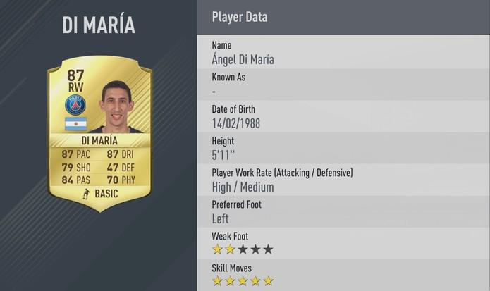 Fifa 17: Di María terá cinco estrelas de finta pela primeira vez (Foto: Divulgação/EA)