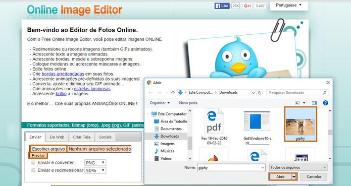 Abra seu GIF pela ferramenta online e envie para iniciar a edição (Foto: Reprodução/Barbara Mannara)