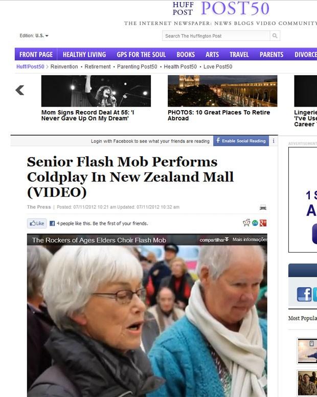 Reportagem no 'Huffington Post' sobre o flash mob do coral de idosos na nova Zelândia (Foto: Reprodução)