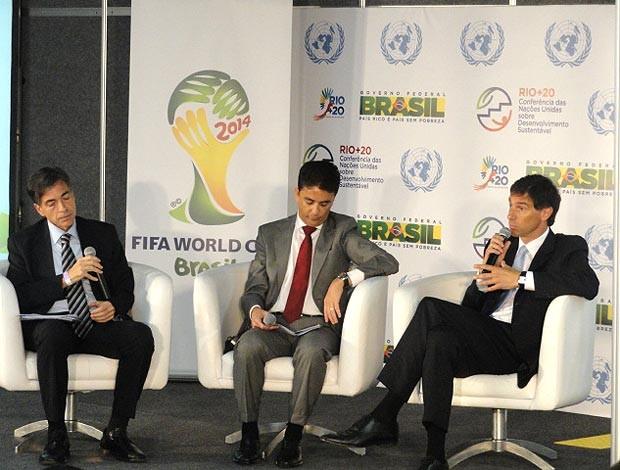 Luis Fernandes, Bebeto e Federico Addiechi (Fifa), Copa do Mundo (Foto: Felippe Costa / Globoesporte.com)