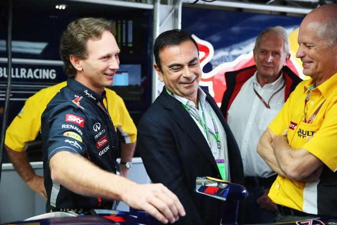 Christian Horner e Carlos Ghosn no GP do Brasil de 2012. Clima entre RBR e Renault eram bom na época (Foto: Getty Images)