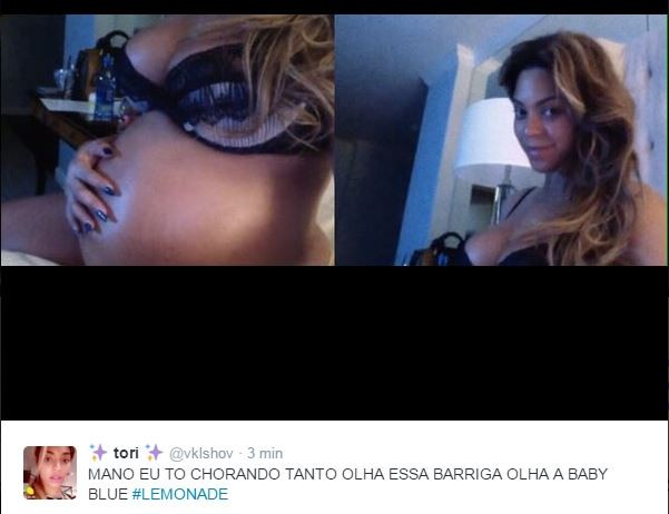 Internautas comentam o barrigão de Beyoncé na apresentação de Lemonade (Foto: Reprodução/Twitter)