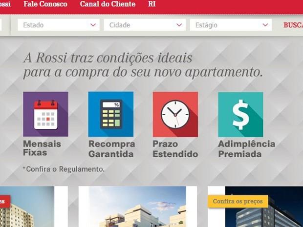 Campanha anunciada no site da construtora Rossi garante atrasos de parcelas em casos de desemprego e recompra do imóvel se regras do financiamento mudarem (Foto: Reprodução)