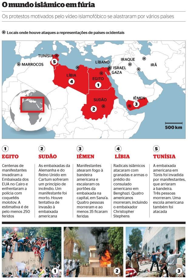 O mundo islâmico em fúria (Foto: Mohammed Abu Zaid/AP, Ashraf  Shazly/AP e Khaled Abdullah Ali Al Mahdi/Reuters)