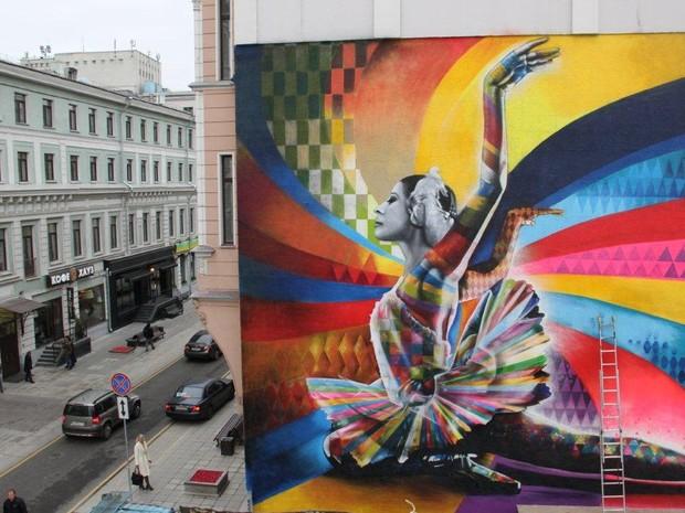 Obra 'oficial' para a qual Kobra foi convidado a visitar Moscou - uma homenagem à bailarina Maya Plisetskaya (Foto: Andressa Munin/Divulgação)
