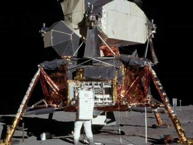 O módulo lunar da Apollo 11; disjuntor quebrado quase inviabilizou decolagem para retorno ao módulo de comando (Foto: Nasa)