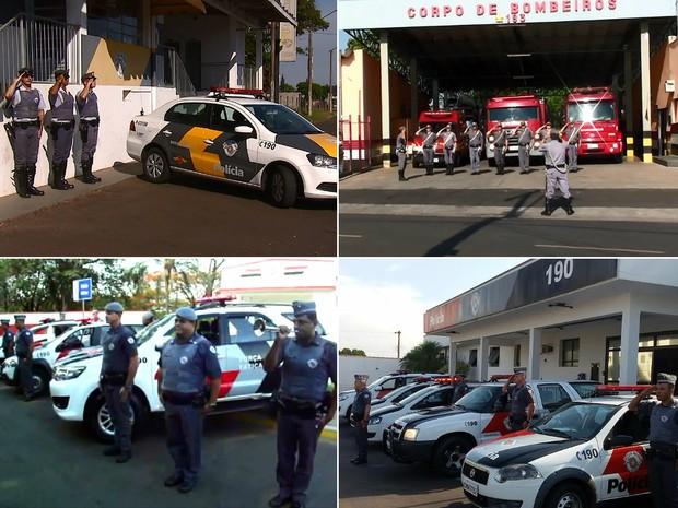 Policiais militares e bombeiros prestaram homenagem PM morto em Aguaí (Foto: Reprodução EPTV)