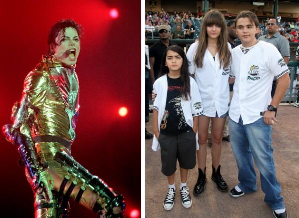O cantor Michael Jackson e seus três filhos (Foto: Getty Images)