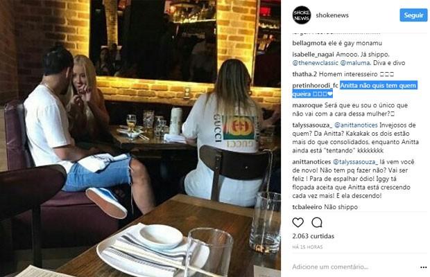 Internauta comenta encontro de Maluma e Iggy (Foto: Reprodução)