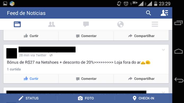 Usuário reclamando do Netshoes no Facebook (Foto: Reprodução/Carolina Miranda) (Foto: Usuário reclamando do Netshoes no Facebook (Foto: Reprodução/Carolina Miranda))