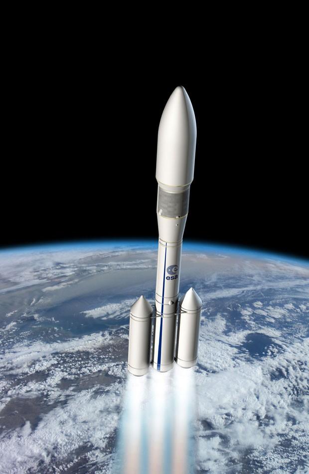 Perspectiva artística mostra como será o foguete Ariane 6 (Foto: AFP Photo/ESA)
