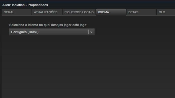 Selecione o idioma que deseja jogar o game no Steam (Foto: Reprodução/Tais Carvalho)
