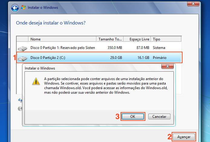 Escolhendo a partição onde será instalado o Windows 7 (Foto: Reprodução/Edivaldo Brito)