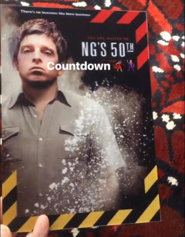 O convite de aniversário de 50 anos de Noel Gallagher (Foto: Snapchat)