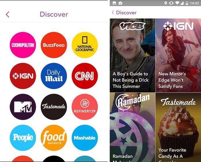 Snapchat mostra agora conteúdo do discover organizado em cards e com títulos (Foto: Reprodução/Elson de Souza)