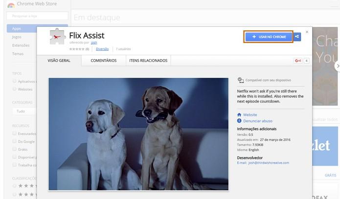 Adicione a extensão Flix Assist no Chrome pelo PC (Foto: Reprodução/Barbara Mannara)