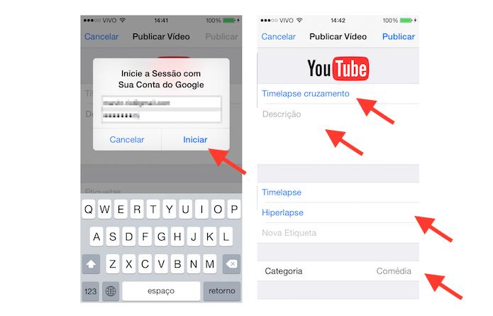 Fazendo login no YouTube e fornecendo as informações básicas sobre o vídeo que deseja postar pelo iOS (Foto: Reprodução/Marvin Costa)