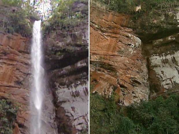 Estiagem fez cachoeira com 70 metros desaparecer em Altinópolis (Foto: Carlos Trinca/EPTV)