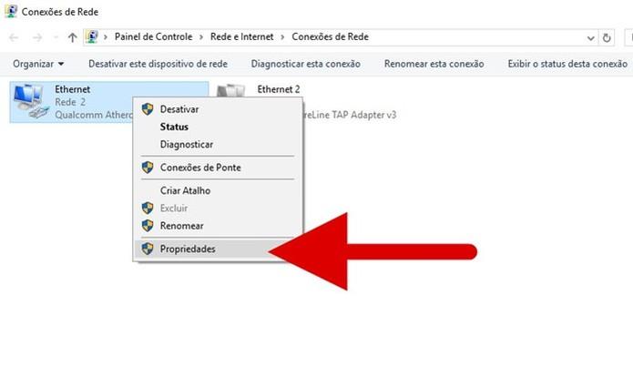 Acessando as propriedades da conexão de rede (Foto: Felipe Alencar/TechTudo)  (Foto: Acessando as propriedades da conexão de rede (Foto: Felipe Alencar/TechTudo) )