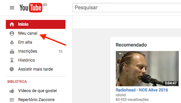 Acessando um canal de usuário do YouTube (Foto: Reprodução/Marvin Costa)