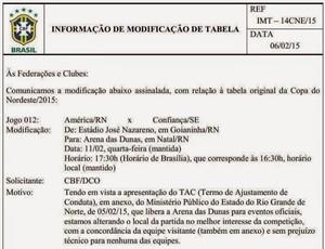 CBF altera América-RN x Confiança Copa do Nordeste (Foto: Reprodução)