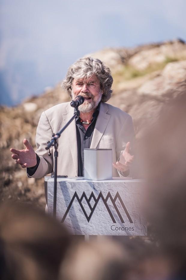 Reinhold Messner durante inauguração (Foto: Divulgação/ MMM)
