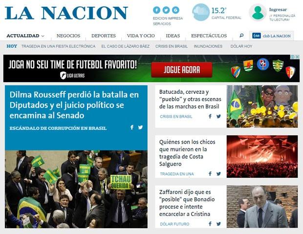 O jornal argentino La Nacion diz que Dilma 'perdeu a batalha' (Foto: Reprodução/La Nacion)