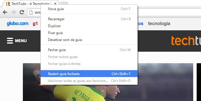 Reabrindo aba no Chrome (Foto: Reprodução/Helito Bijora)