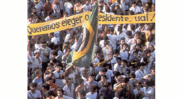 Movimento Diretas Já, em Minas Gerais (Foto: Colégio Qi/Reprodução)