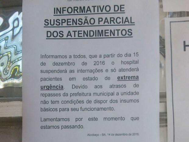 Médicos estão atendendo apenas pacientes em estado de emergência em hospital de Alcobaça  (Foto: Divulgação / Hospital São Bernardo)