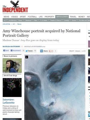 Retrato da cantora Amy Winehouse feito pela artista Marlene Dumas (Foto: Reprodução)