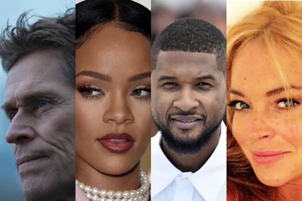 Willem Dafoe, Rihanna, Usher e Lindsay Lohan (Foto: Reprodução Instagram/Getty Images/Divulgação)