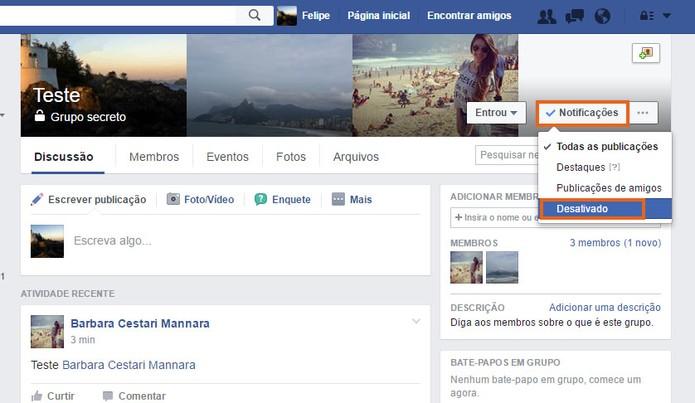 Desative as notificações em grupos secretos no Facebook (Foto: Reprodução/Barbara Mannara)