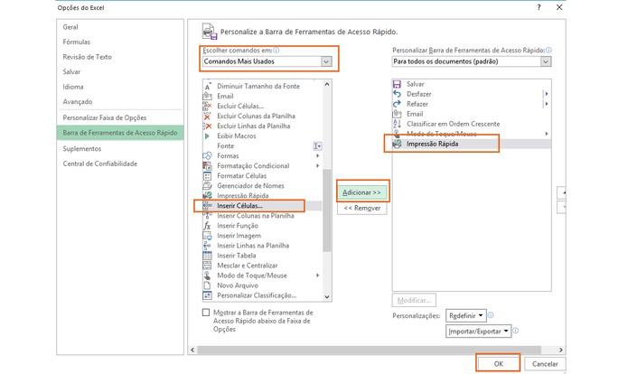 Adicione os atalhos que preferir na barra de topo no Excel (Foto: Reprodução/Barbara Mannara)
