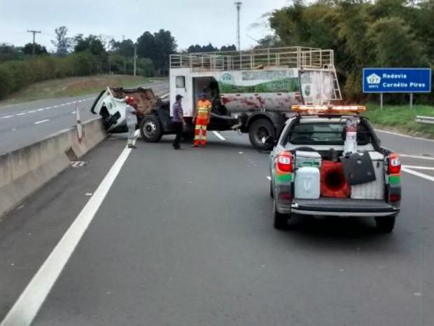 Acidente aconteceu na Rodovia Cornélio Pires (SP-127) (Foto: Arquivo Pessoal)