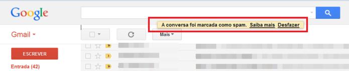 Mensagem de e-mail marcada como spam (Foto: Reprodução/Lívia Dâmaso)