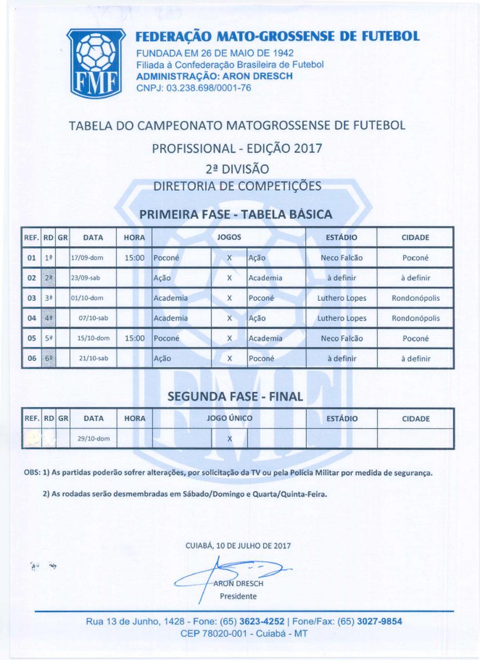 Tabela completa da 2ª divisão do Mato-Grossense 2017 (Foto: Assessoria/FMF)