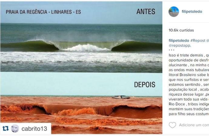 Filipe Toledo instagram regência surfe espírito santo lama (Foto: Reprodução/Instagram)
