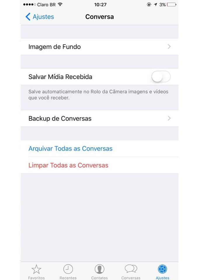 Whatsapp permite alterar as imagens de fundo dos chats (Foto: Reprodução/Aline Jesus)