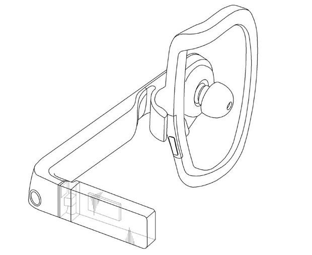 Imagem do fone de ouvido com lente para exibir conteúdos, que a Samsung tenta patentear na Coreia do Sul e se aproxima do Google Glass. (Foto: Reprodução/Korean Intellectual Property Office)
