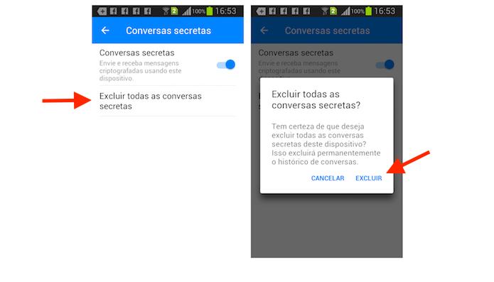 Opção para deletar conversas secretas do Facebook Messenger para Android (Foto: Reprodução/Marvin Costa)