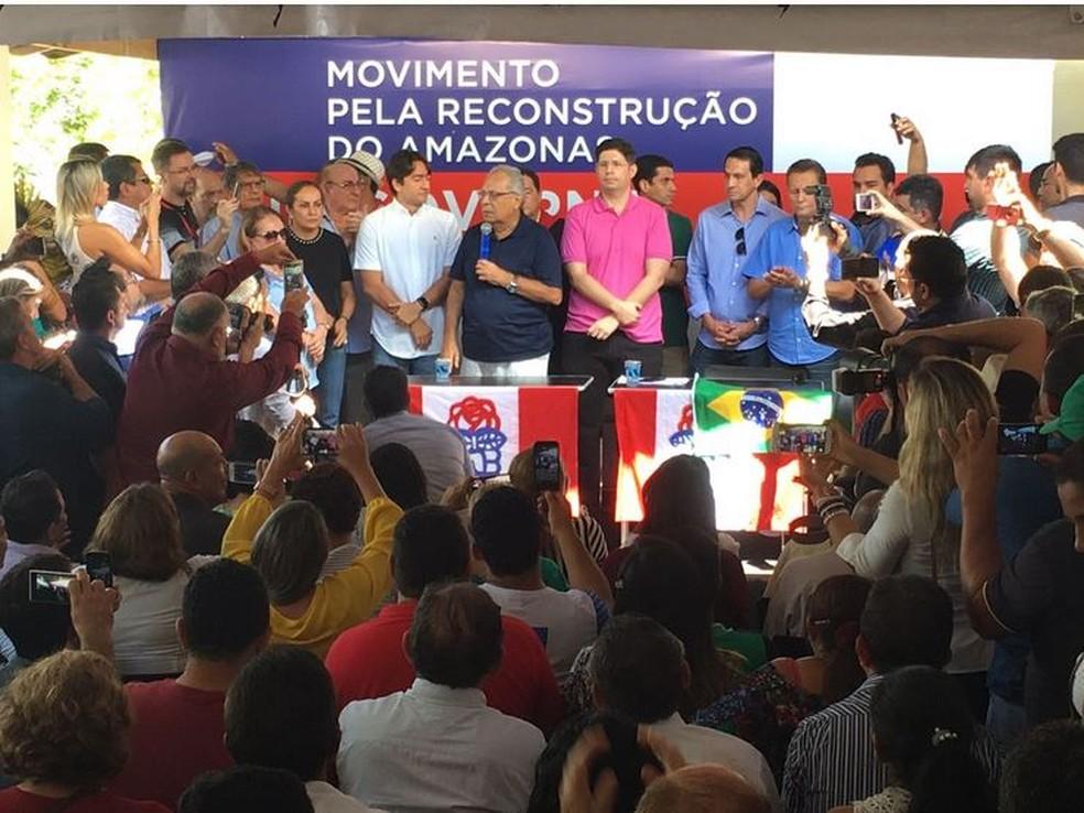 Amazonino Mendes confirmou candidatura no Amazonas (Foto: Orlando Jr/Rede Amazônica)