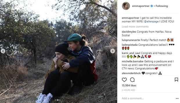 Emma Portner anuncia casamento com Ellen Page (Foto: Reprodução/Instagram)