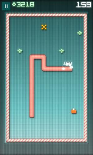 Imagem de 'Snake Rewind', uma reformulação para smartphones do clássico 'jogo da cobrinha'. (Foto: Divulgação/Rumilus Design)