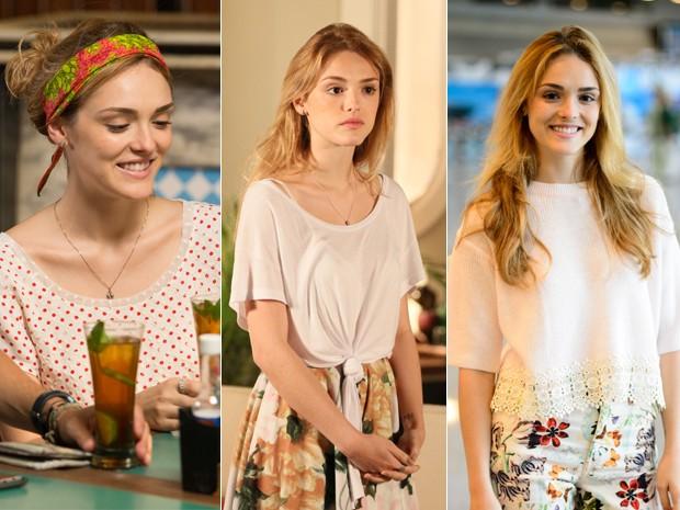 Júlia fica um charme só com as peças floridas e blusas com nó (Foto: Fábio Rocha e Isabella Pinheiro / Gshow e Alex Carvalho / Globo)