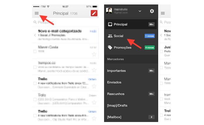 Acessando a aba de alertas de rede social do Gmail para iOS (Foto: Reprodução/Marvin Costa)