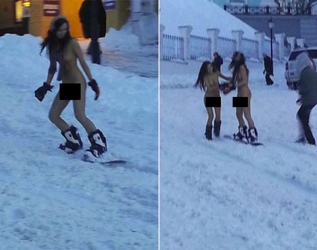 Mulheres encararam frio e andaram nuas de snowboarding na Ucrânia (Foto: Reprodução)
