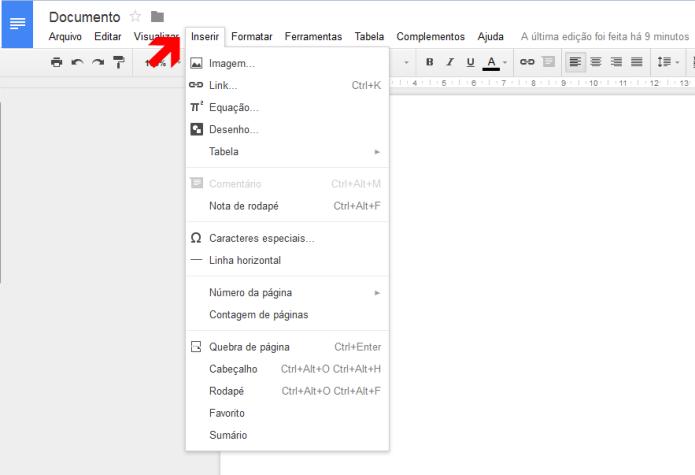 Inserindo mídias no documento no Google Docs (Foto: Reprodução/Lívia Dâmaso)